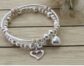 Sterling Silver Stretch Stack Bracelets, Silver Stacking Bracelets, Silver Heart Bracelets, 2 Silver Beaded Bracelets, Bracelet Gift Set