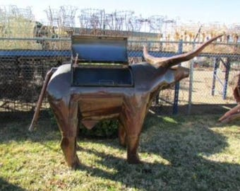 Recycled Metal Longhorn Bull Charcoal Grill ~ Master Grilling BBQ - Pigs ~ Custom Order