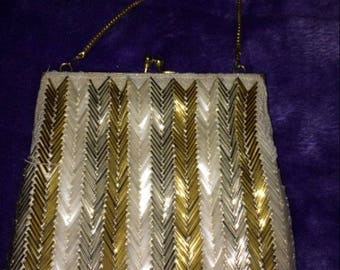 Ladies Beaded Gold Silver Handbag Purse