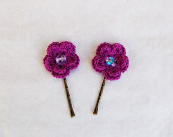 Bobby pins (set of 2) crocheted violets