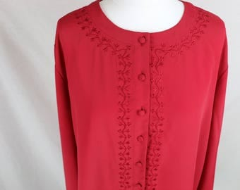 Red Button Up Shirt with Embroidery outline