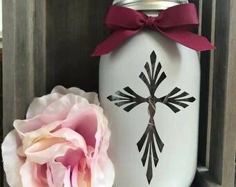 Cross Mason Jar
