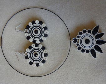 Black and ivory set made with quilling