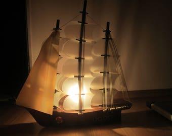 Decorative Ship, Vintage Model Ship, Ship lamp,Nautical Decor,Vintage Wooden Model Ship,Handmade Decorative Big Ship,Vintage Home decoration