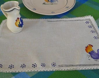 Hand painted Rooster placemats pugliese