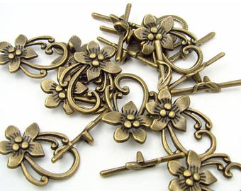 5 sets antique bronze flower toggle clasps