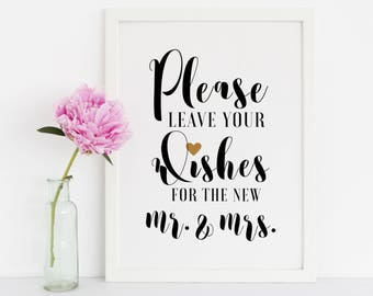 Please Leave Your Wishes For The Mr And Mrs, Wedding Signs, Well Wishes Sign, Wedding Signage, Reception Signs, Wedding Signs Printable