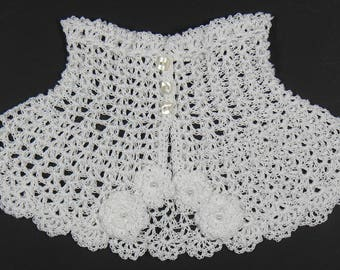 romantic collar child crochet cotton white flowers and pearls