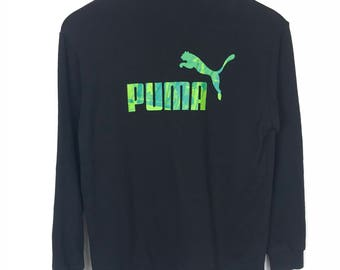 Rare!!! Puma Sweater Big Logo Spellout Embroidery Double Pockets Multicolors