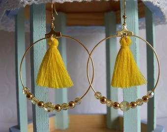 Pom poms - yellow Swarovski earrings