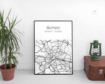 Quimper poster - Map (A4)