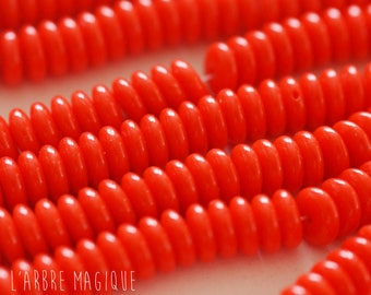 Opaque 6 x 10 mm red rondelle glass beads