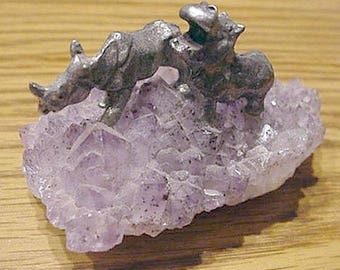 RHINOCEROS & HIPPO on amethyst pewter figurines wild animal mineral gift