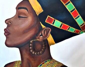 """Black woman painting """"Nefertiti: Look at me"""""""