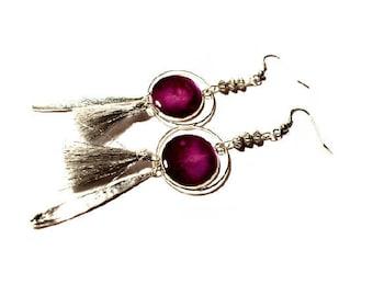 Bohemian earrings cabochons shades of purple