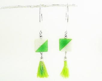 Graphic, dangling earrings; painted, celadon Green Pearl