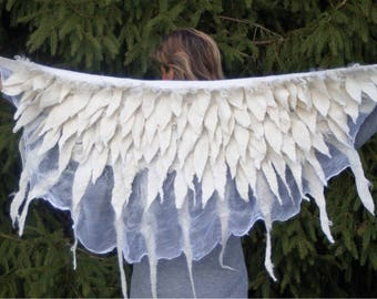 Shawl White Angel Nuno Felted Accessoar Elegant Designed by ArtNata Wool Silk Womans Passion Exclusiv Personalized Boho Winter Handmade