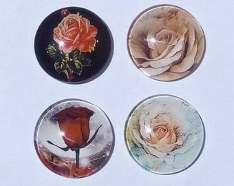 set of 4 roses, 25 mm cabochons