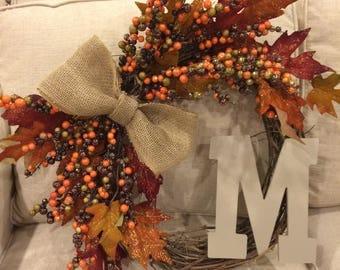 Monogramed Wreath - Fall Wreath - Front Door Wreath - Initial Wreath - Grapevine Wreath - Autumn Wreath - Fall Wreath for Front Door