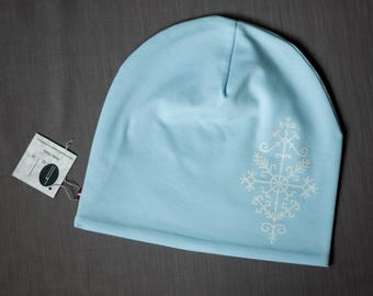 Women beanie hat Light blue slouchy jersey beanie Hat for ladies Adult scull cap Hat with cotton lining Slouchy hat for her Women's beanie