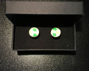 Four Leaf Clover style Boxed Cufflink Set