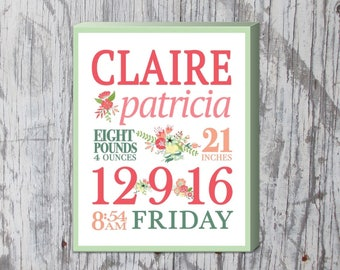 "Girls Floral Themed Custom 11""x14"" Birth Stats Canvas"