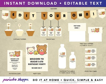 Rilakkuma Birthday Party / Baby Shower Printables - INSTANT DOWNLOAD - Fully EDITABLE text