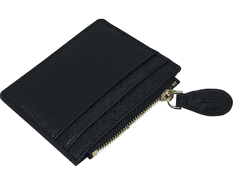 Night Black Saffiano Leather - Coin Purse Card Holder - Executive - unique gift for her valentines