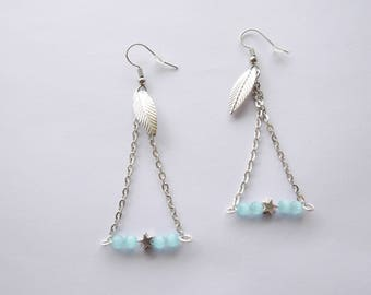 Earrings are made of blue and silver