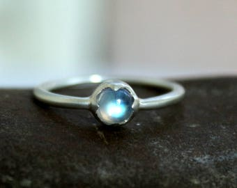 AAA Rainbow Moonstone Sterling Silver Ring - Moonstone stacking ring