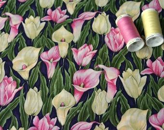 "American patchwork ""LES JARDINS"" by Hoffman International pink fabric"