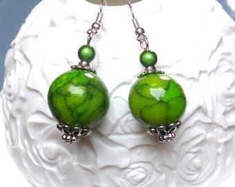 Earring in dough fimo decorations jade beads