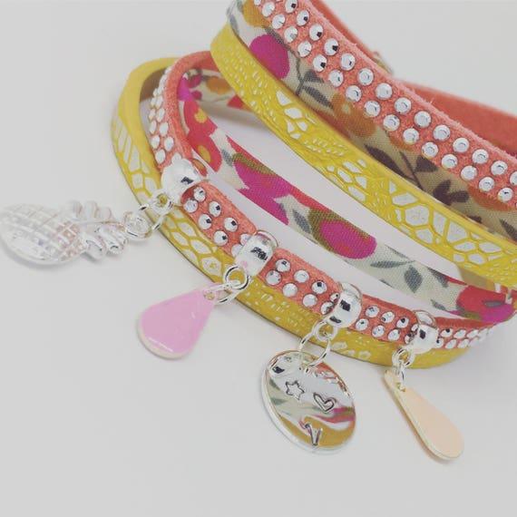 ★ Bracelet personalized Sunshine ★ Liberty of London Rose with personalized engraving ★ Palilo jewelry multi strand Bracelet