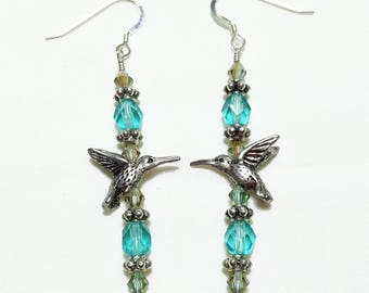 Aquamarine Blue Crystal Hummingbird Beaded Earrings