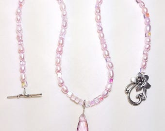 Pink Freshwater Pearl Bridal Wedding Necklace Set