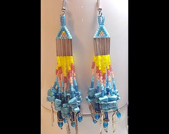 Turquoise and Feather Beaded Dangle Earrings