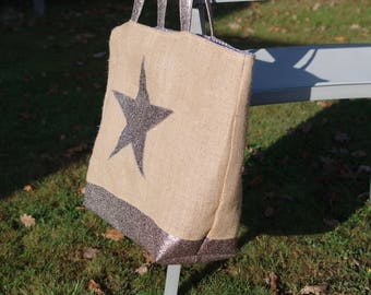 Burlap tote for star beach or market. XL, with star background and glitter handles