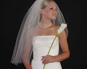 """Classic Puffy 34"""" Hip Length Swarovski Crystals Scattered  Wedding Veil with Raw/Cut Edge"""