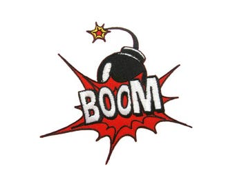 Boom Iron On Patch Pop Art Embroidered Applique Comic Book Patches For Jackets