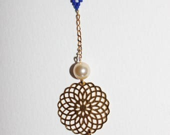 Pendant with print rose, Miyuki, Swarovski Pearl, glass bead