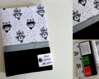 """protects health record customizable """"raccoons masked"""" with inscription """"my health book"""""""