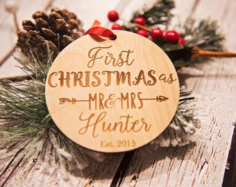 Our First Christmas Ornament, Personalized Christmas Ornament, Mr and Mrs Ornament, Wedding Gift,