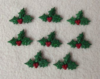 GLITTER HOLLY ~ Dress It Up Buttons ~ Christmas Glitter Holly