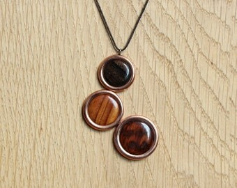 """Pendant """"copper trilogy"""" - wooden jewelry"""