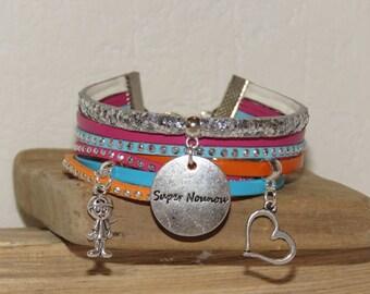 "Cuff - gift for nanny ""super nanny"" leather and glitter, white, fuchsia, orange, turquoise"