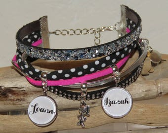 Bracelet personalized with names of your choice of leather, suede and bias peas, pink color neon, black,