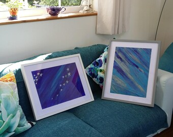 Space and silver, acrylic painting, framed