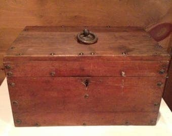 Vintage box with aged brad detail