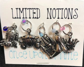 Set of 5 Princess themed stitch markers