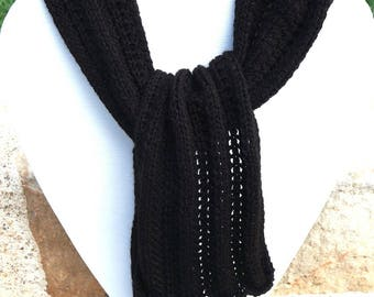 Cozy black hand-knitted scarf for woman and girl
